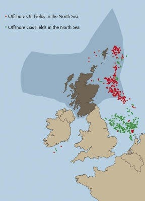 Does all of Scotlands offshore oil belong to Scotland or do other