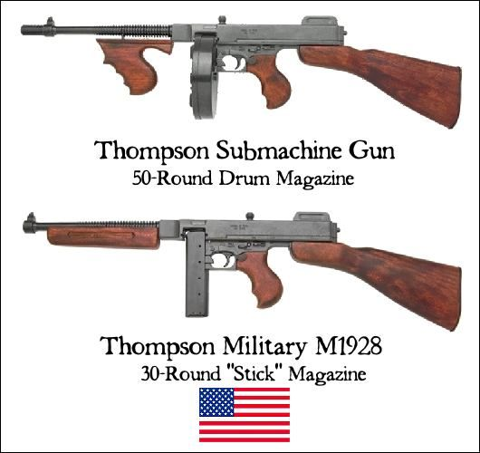 Why were Thompson submachine guns used by the Allies in WWII