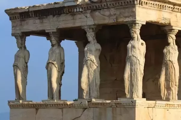 actually there is a fourth type of greek column called a caryatid it is a column in the shape of a woman the erechtheion in the acropolis in athens a
