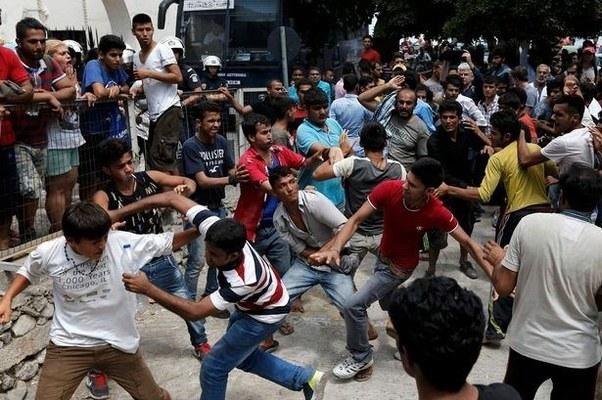 Image result for migrants violence in eu