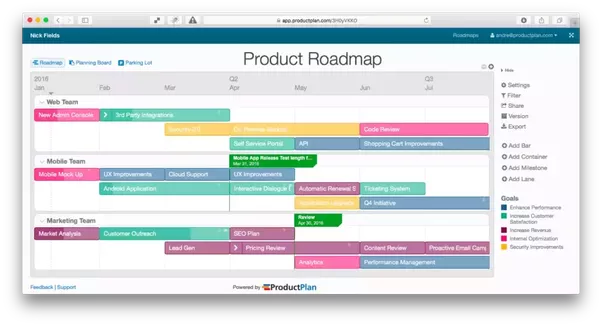 below is an example of a product roadmap made through productplan