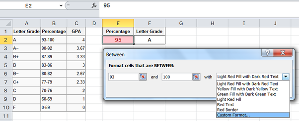 In Microsoft Excel how could set up an if statement to return a