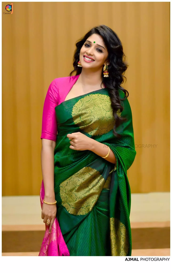 1ac79b0dfbeb3 Look 1   Hot pink scooped neck with three quarter sleeve blouse and green  silk saree