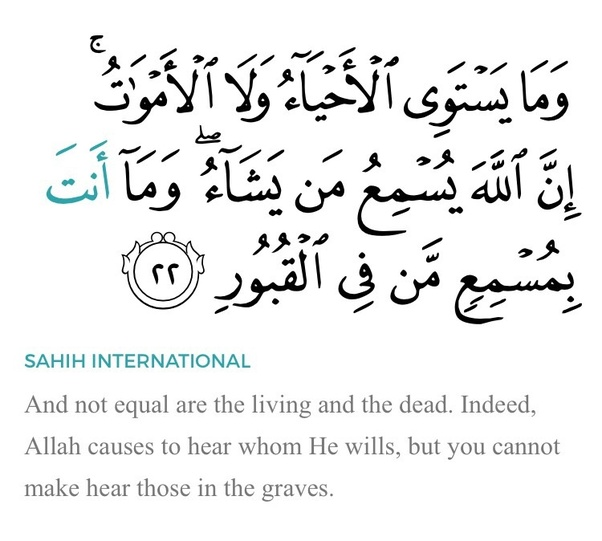 What is the best explanation for Quran Surah Fatir 35:22