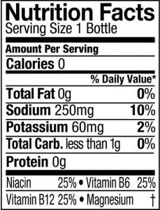 Powerade Label Nutrition Facts