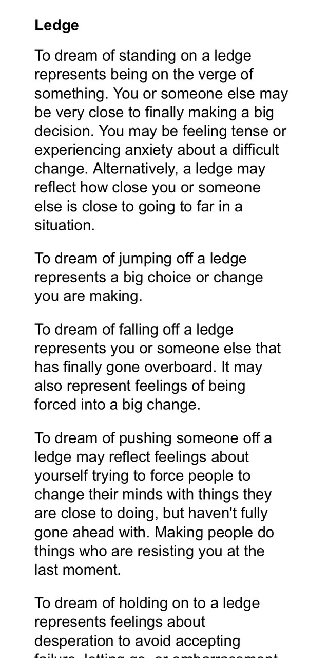 What does it mean to dream you are hanging on to an edge