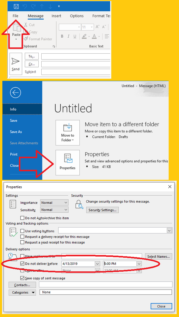How to schedule email in Outlook to be sent in the future
