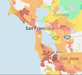 What are some cheap neighborhoods in the Bay Area for a ... San Francisco Rent Map on san francisco rent rates, heat map, san francisco neighborhoods to avoid, portola ca map, abu dhabi rent map, austin rent map, san francisco rent chart, san francisco ca,