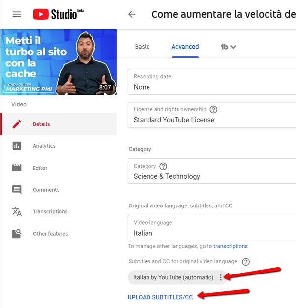 I sottotitoli generati automaticamente da YouTube Studio