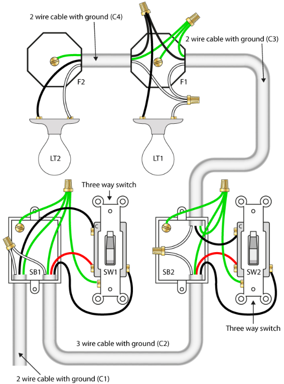 How to wire a 3-way switch with 2 lights - Quora | 3 Way Switch Wiring Diagram For Ceiling Lights |  | Quora