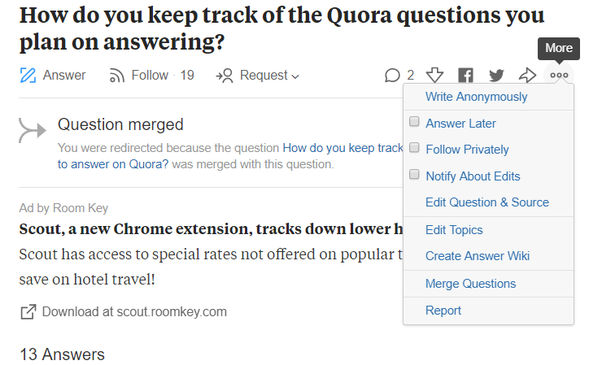 How to keep track of the Quora questions you plan on answering - Quora