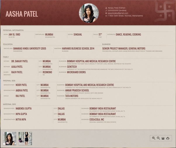 what is a sample format of biodata for marriage purpose