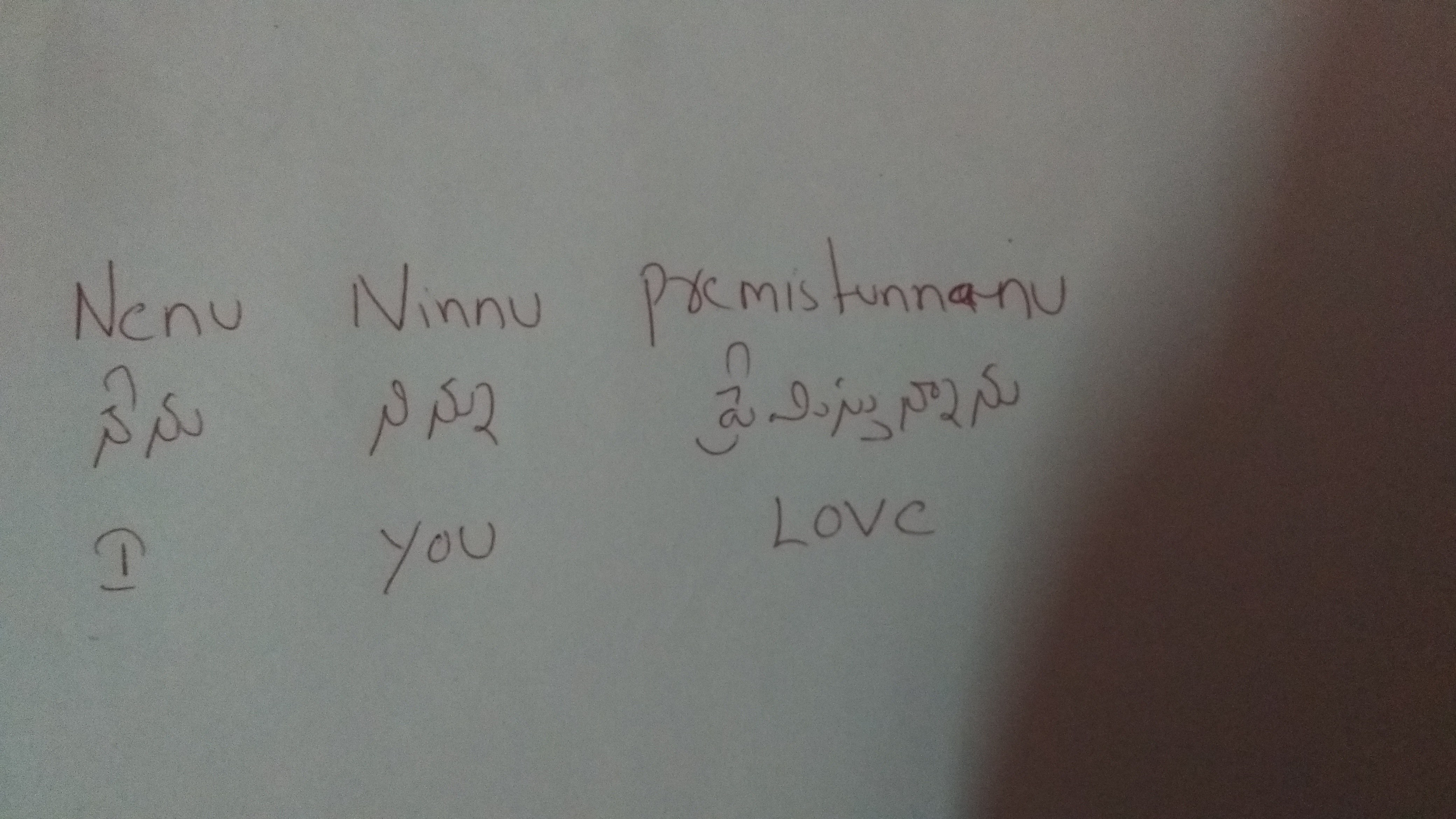 What is the difference between nenu and ninnu in the Telugu