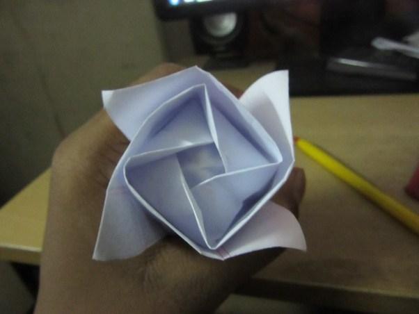 This Is A Medium Hard Origami Kawasaki Rose That I Made Using Ordinary Paper
