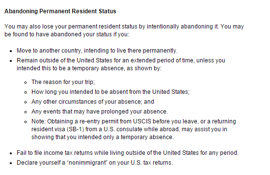 Is A Us Resident Obliged To Surrender His Green Card If He No Longer