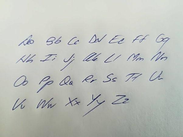 What does your handwriting look like when you write the english