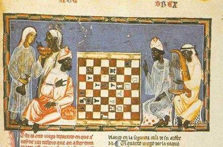 "Subsaharan ""slaves"" playing chess"