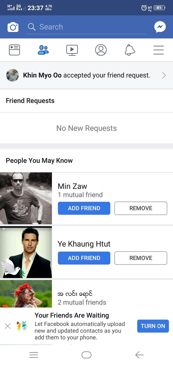 How to find friends in a city on facebook app