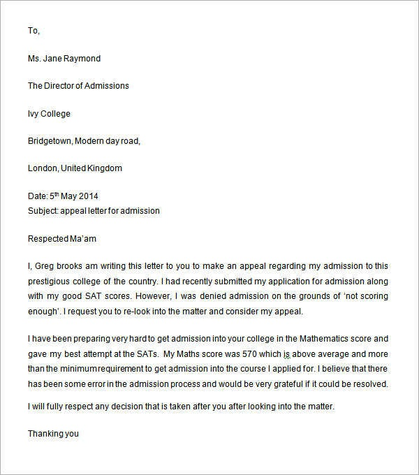 sample appeal letter for college admission