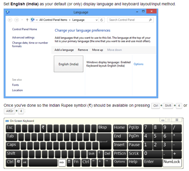 What Is The Way To Use The Rupee Symbol Given In Logitech Keyboard