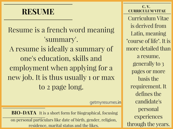 What Is The Difference Between A Cv Resume And A Biodata Quora