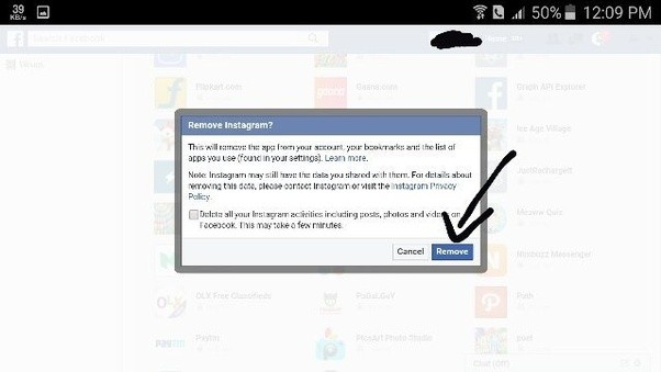 how to delete my instagram account from facebook