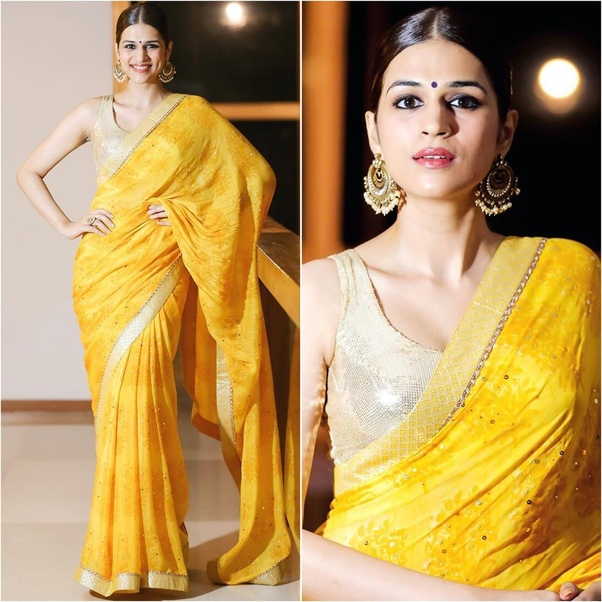 80fe90fa6d717 Which colour blouse will suit for a lemon yellow saree  - Quora