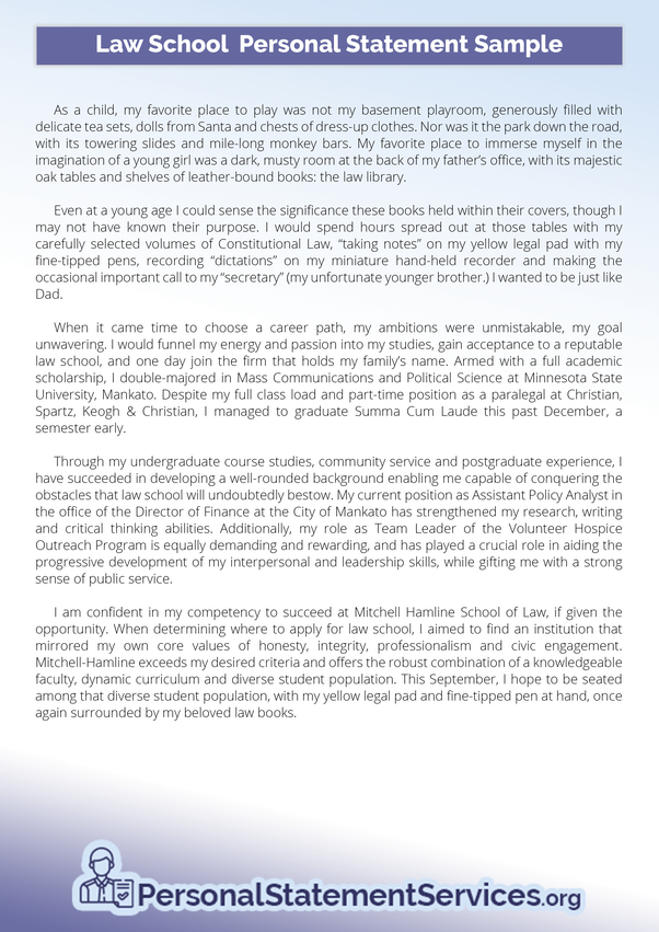 Law school personal statement layout