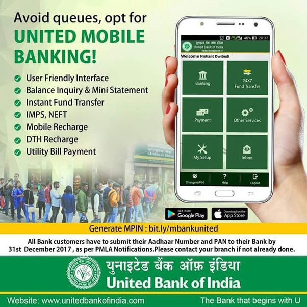 Online mobile banking registration in united bank of india