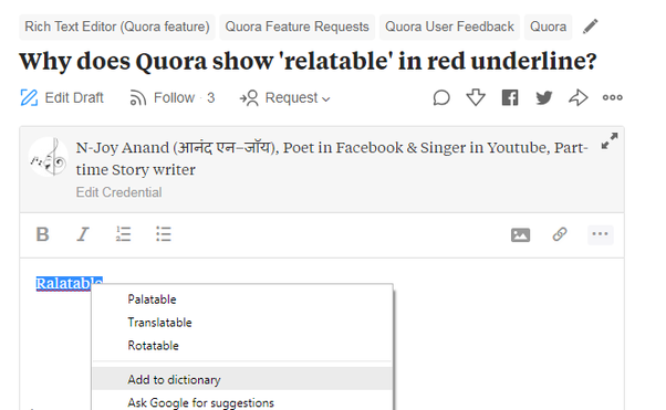 why does quora show relatable in red underline quora