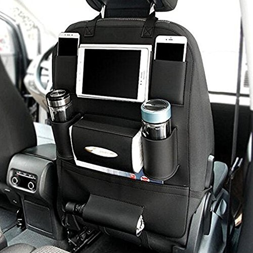 Garbage Can 2Pack+1Can Backseat Car Organizer with 6 Storage Pockets 9.7 Ipad//Tablet Holder-Kick Mats Back Seat Protector-Back Seat Organizer for Kids Travel Accessories Alline Car Organizer