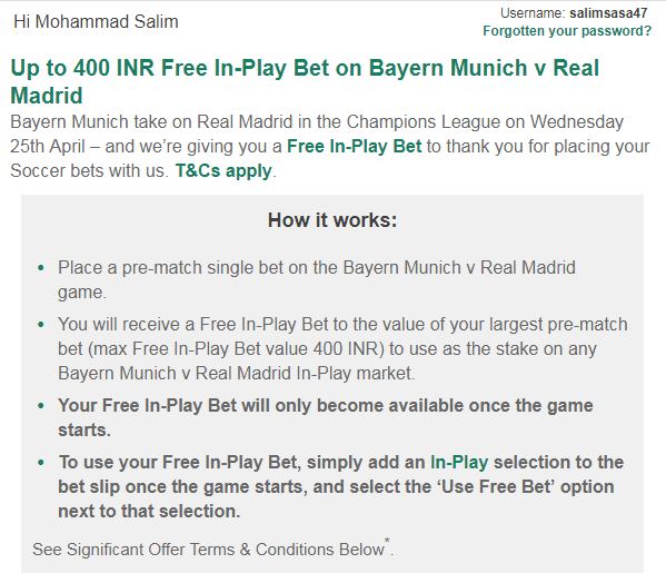 Bet365 gives me Free in Play Bet but I have no Skrill money