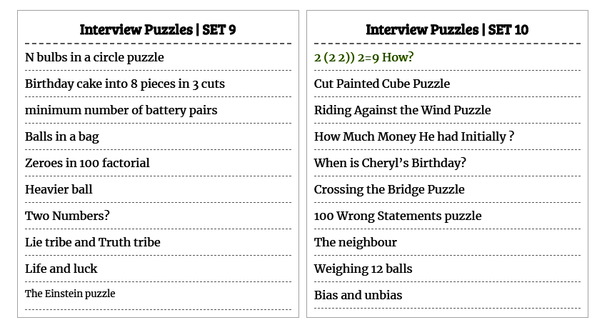 What are the standard puzzles asked in programming interviews? - Quora