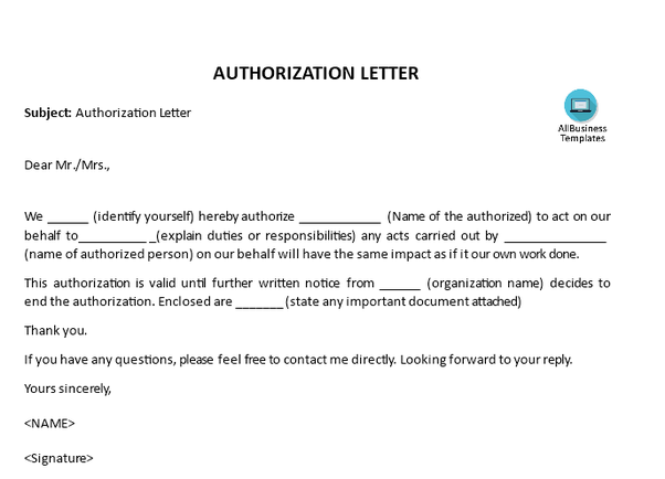 Authorization Letter Sample – 25+ Printable Formats
