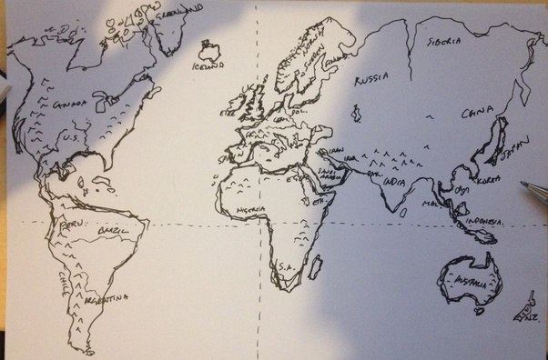 Will you share your best drawing of a world map from memory quora i thought id got quite good at it but this is the first attempt in 40 years everything is the wrong proportion and shape ah well gumiabroncs Images