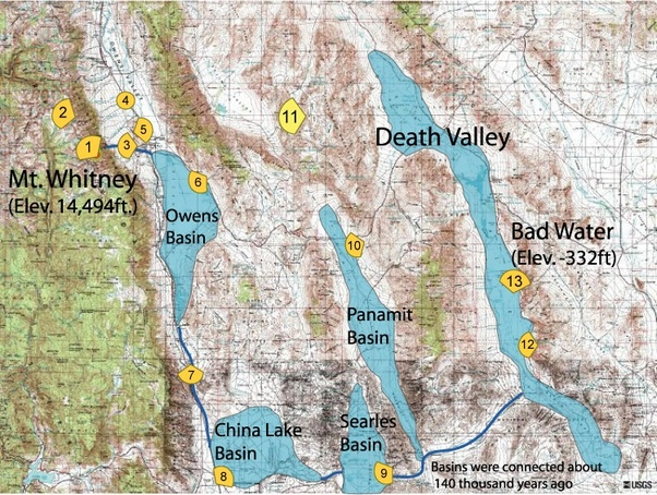 Death Valley Elevation Map.What Would Happen If We Dumped Ocean Water Into Death Valley Quora