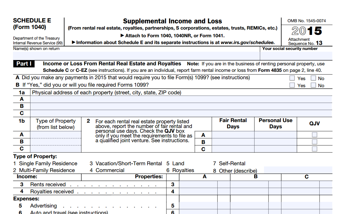 Does net rental income go on a schedule C, and is it subject