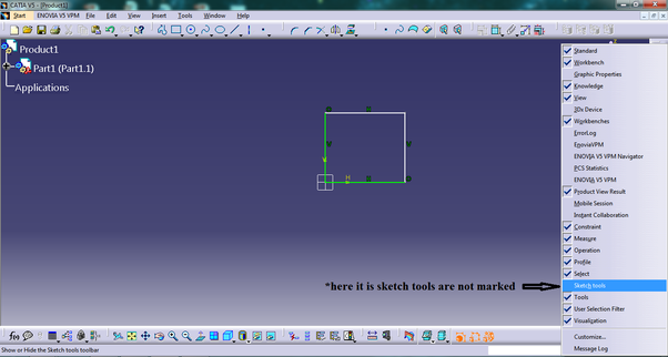 How to make sketch tools visible in CATIA V5 - Quora