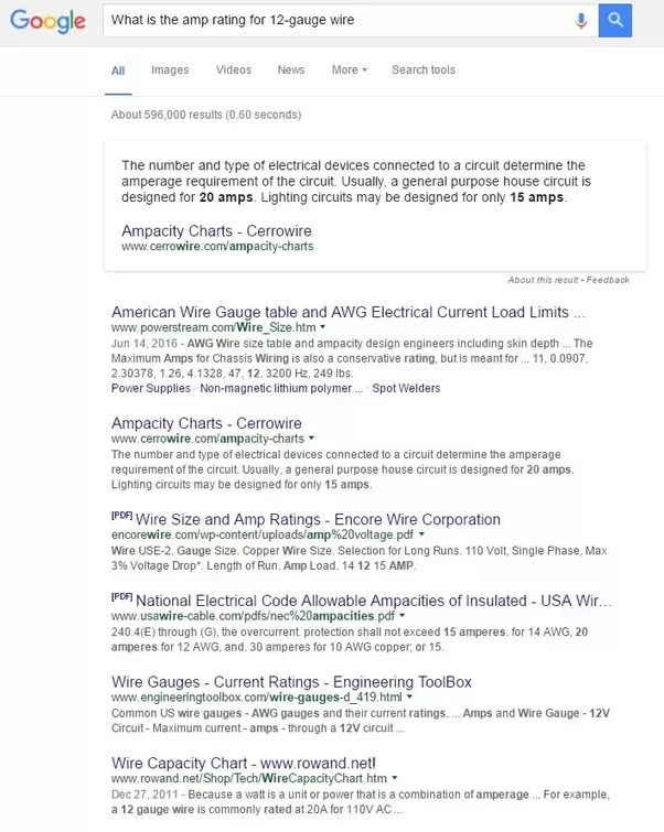 What is the amp rating for 12 gauge wire quora here is a snapshot of the first page with the results for the search for what is the amp rating for 12 gauge wire greentooth Images