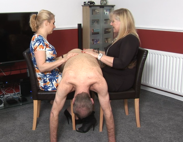 My wife spanks me over the knee on my bare bum in front of