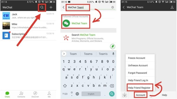 How to create a WeChat account without having someone scan my QR