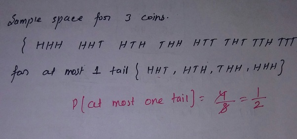 What is the probability of getting at most one tail in the 3 tosses