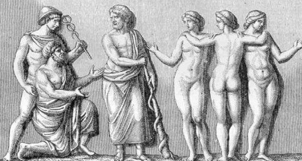 Hermes, Dio del commercio, Asclepio e le tre figlie Igea, Panacea e Meditrina