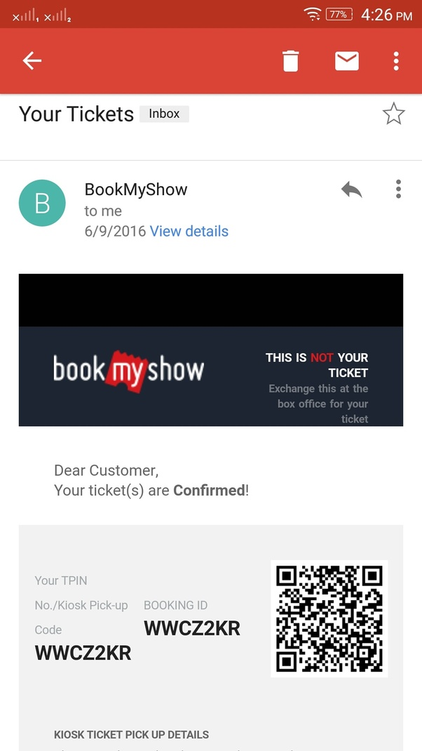 After booking a movie ticket online with Paytm, how do you enter the