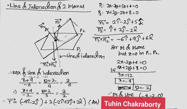 How to find the line of intersection between two planes - Quora
