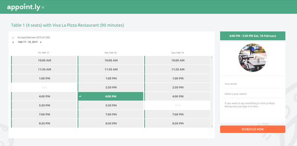 a possibility to book without logging a table in your restaurant the tool im talking about is appointly and the scheduling page looks like this