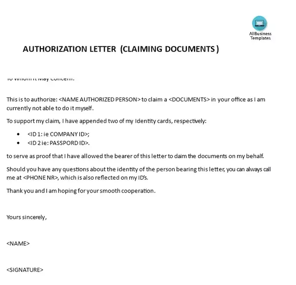 What Are Some Samples Of Authorization Letters To Claim