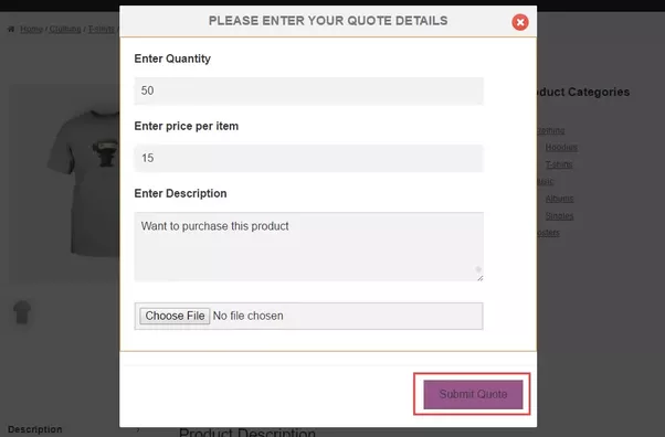 how to add woocommerce product destription for quote
