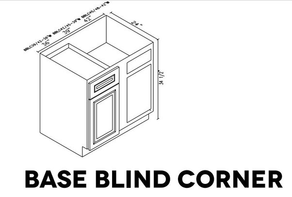 What Are The Base Blind Corner Cabinet Sizes Of Forevermark Cabinets?