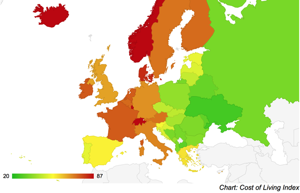 Which western country that has lowest cost of living? - Quora
